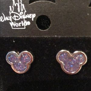 MICKEY MOUSE PURPLE RAINBOW GLITTER EARRINGS